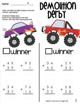Double Digit Addition Monster Truck Edition