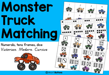 Monster Truck Matching with numbers, tens frames and dice faces