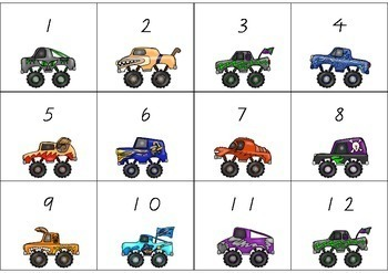 Number recognition and matching activity - Monster Trucks