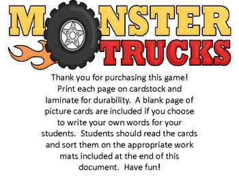 Monster Truck Nonsense Word Sort {CVC Words}