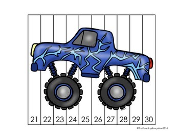 Monster Truck Number Puzzles {Skip Counting by 2, 5 and 10}