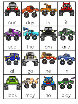 Monster Truck Sight Words Roll, Say, Keep-Editable