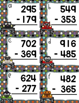 Monster Truck Subtraction Task Cards *~ 3-Digit With Regrouping ~*