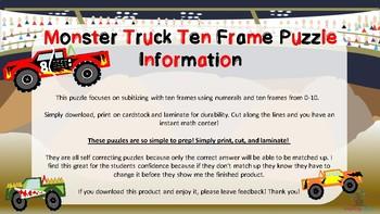 Monster Truck Ten Frame Match Up