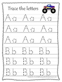 Monster Truck themed A-Z Tracing preschool printable worksheets. 13 pages.