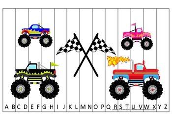 Monster Truck themed Alphabet Sequence Puzzle preschool educational printable ga