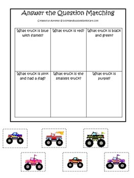 Monster Truck themed Answer the Question child learning activity.  Game.