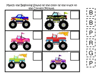 Monster Truck themed Beginning Sounds child learning activity.  Game.