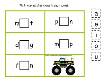 Monster Truck themed CVC #2 preschool homeschool vowel act