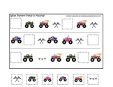 Monster Truck themed Fill in the Missing Pattern child learning activity.  Game.