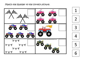 Monster Truck themed Match the Number child learning activity.  Game.