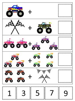 Monster Truck themed Math Addition preschool printable game.  Daycare curriculum