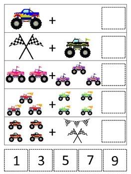 Monster Truck themed Math Addition preschool printable gam