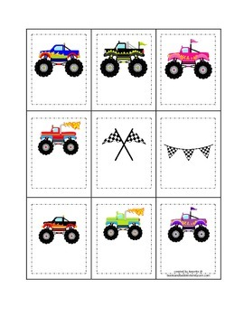 Monster Truck themed Memory Matching child learning activity.  Homeschool.