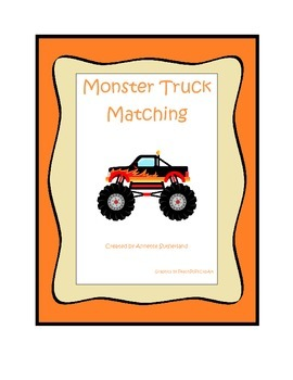Monster Truck themed Memory Matching child learning activi