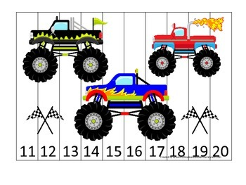 Monster Truck themed Number Sequence Puzzle 11-20 preschoo