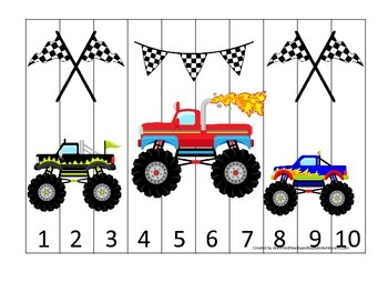 Monster Truck themed Number Sequence Puzzle child learning activity.  Game.