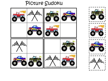 Monster Truck themed Picture Sudoku child learning activity.  Child Care game.