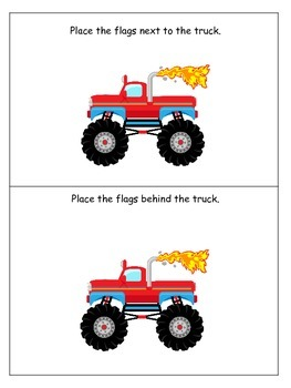 Monster Truck themed Positional Cards preschool learning game.  Daycare game.