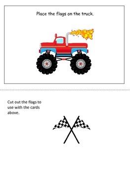 Monster Truck themed Positional Cards preschool learning g