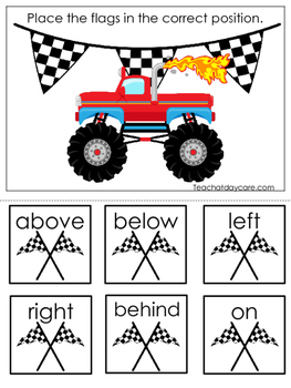 Monster Truck themed Positional Game.  Printable Preschool Curriculum Game