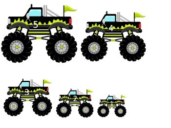 Monster Truck themed Size Sequence child learning activity.  Daycare games.