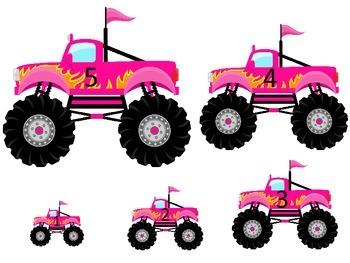 Monster Truck themed Size Sequence preschool edcuational activities.