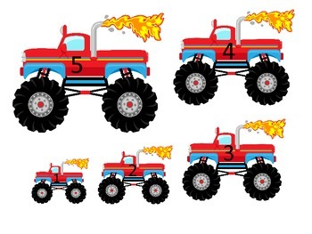 Monster Truck themed Size Sequence preschool edcuational activities.