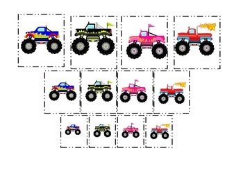 Monster Truck themed Size Sorting child learning activity.