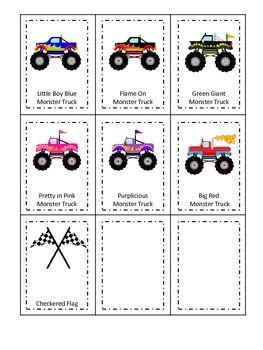Monster Truck themed Three Part Matching child learning activity.  Daycare.