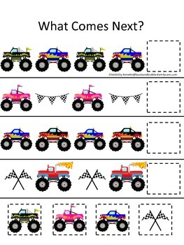 Monster Truck themed What Comes Next child math learning activity.  Game.