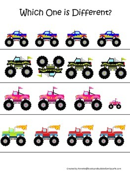 Monster Truck themed Which One is Different child learning activity.  Daycare.