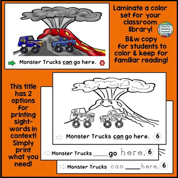 Sight Word Leveled Readers, Sentence Puzzles and Activities: Monster Trucks!