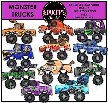 Monster Trucks Clip Art Bundle {Educlips Clipart}