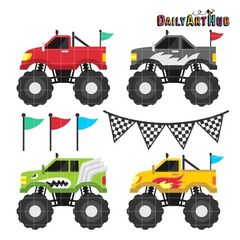 Monster Trucks Clip Art - Great for Art Class Projects!