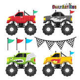Monster Trucks Clip Art - Great for Art Class Projects!