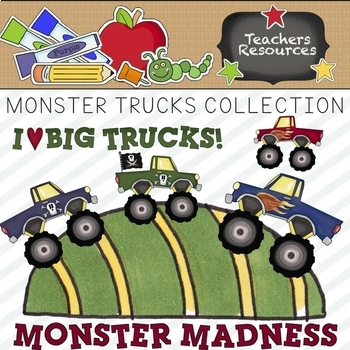 Monster Trucks Clipart Collection || Commercial Use Allowed