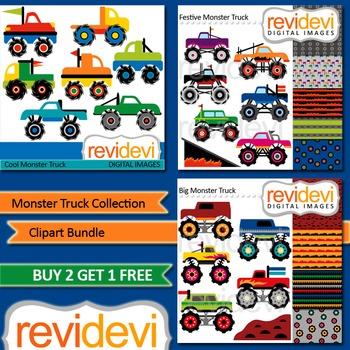 Monster Trucks Collection Clip art (3 packs)