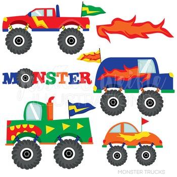 Monster Trucks Cute Digital Clipart, Big Truck Clip Art