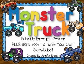 Monster Trucks!  Foldable Early Emergent Reader PLUS Blank