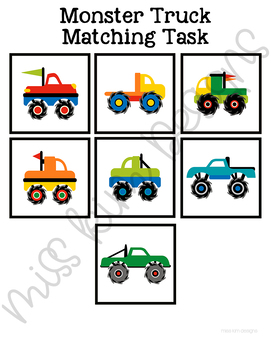 Folder Game: Monster Trucks Matching for for Students with Autism
