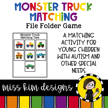 Monster Trucks Matching Folder Game for students with Autism