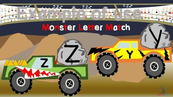 Monster Trucks Uppercase and Lowercase Alphabet Letter Match Up
