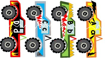 Monster Trucks and Rock Uppercase and Lowercase Alphabet Letter Match Up