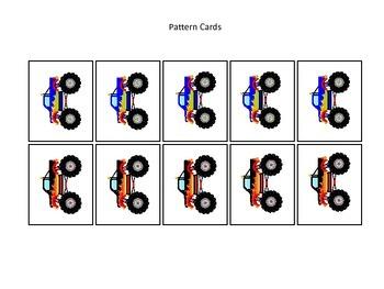 Monster Trucks themed Pattern Cards #1 preschool printable activity.  Daycare.