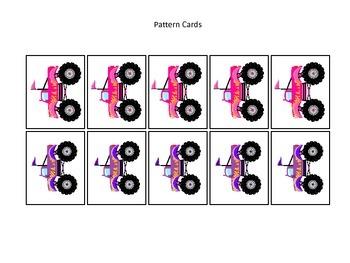 Monster Trucks themed Pattern Cards #3 preschool printable activity.  Daycare.