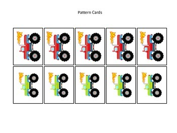 Monster Trucks themed Pattern Cards #4 preschool printable activity.  Daycare.