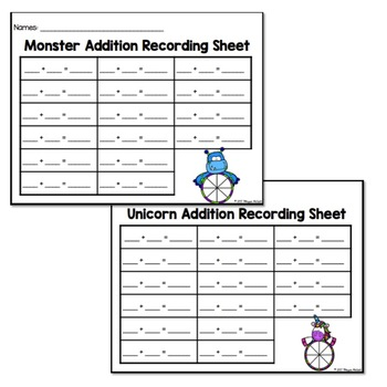 Monster & Unicorn Addition Game (Freebie)