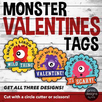 Monster Valentine Tags - Cute Valentine Labels - Monster Valentine Circles