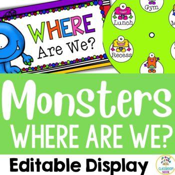 "Monster Theme: ""Where Are We?"" Display (Editable)"